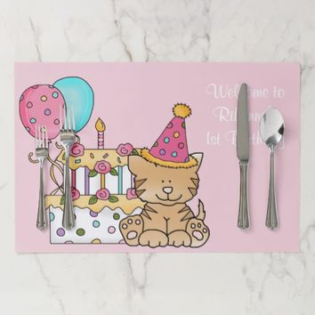 1st Birthday, Kitten, Balloons and Cake, Custom Placemat