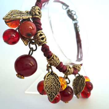 Bohemian Style Amber Bracelet by Lunarpearl on Etsy