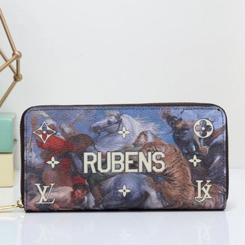 """Louis Vuitton"" Unisex Clutch Purse  Fashion Oil Painting Letter Pattern Print Long Section Zip Wallet"