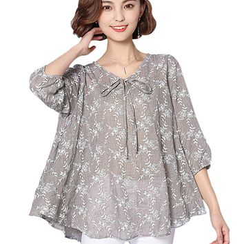 Autumn Women Blouses And Tops 2017 Loose Linen Cotton Blouse Tunic Shirt  6XL Plus Size Women Clothing Ladies Casual Tops Blusas