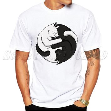 Yin Yang Cats Design 2017 Newest Men t-shirt Summer Fashion White & Black Cat Hug Printed Tee Shirts Short Sleeve Hipster Tops
