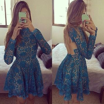 Women Flower Lace Backless Dress Long Sleeve Mini Vestidos