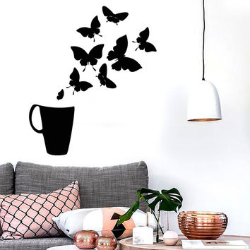 Vinyl Decal Coffee Cup House Shop Butterflies Kitchen Tea Wall Stickers (ig2726)