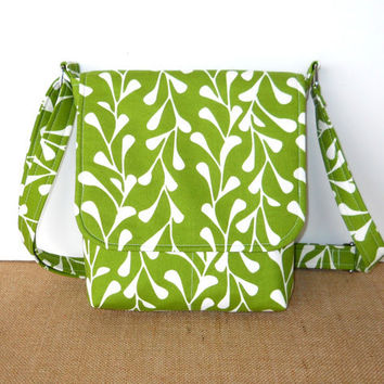 Small Messenger Bag, Small Spring Purse - White Vines on Avocado Green