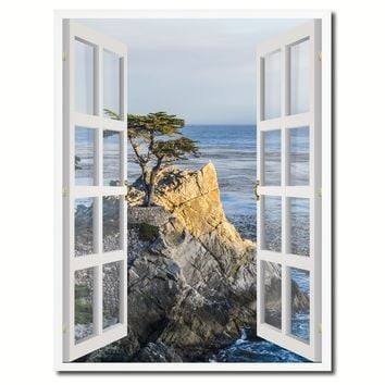 Monterey Beach View Picture French Window Canvas Print with Frame Gifts Home Decor Wall Art Collection