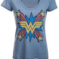 Wonder Woman Retro Scoop-Neck Ladies' Tee - Mystic,