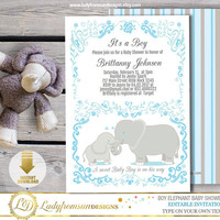 Boy Elephant Baby Shower , Elephant Invites, Blue and Gray  , its a Boy, striped, Printable, template, Editable|DIY INSTANT DOWNLOAD