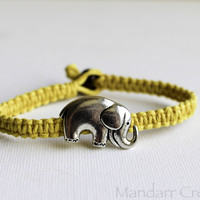 Yellow Elephant Bracelet with Yellow Hemp Cord, Unisex Best Friends Jewelry, Safari Animal Eco Friendly Jewelry