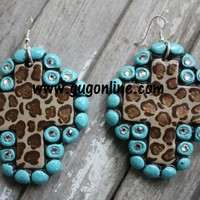 Mercedes Cheetah and Turquoise Clay Earrings