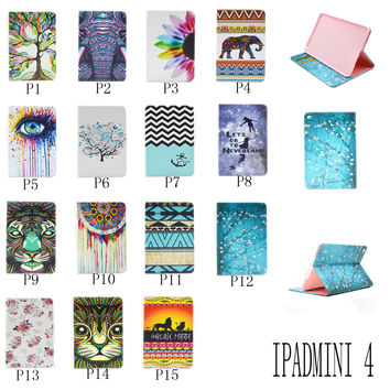 For Apple iPad Mini 4 Painting Print Flip PU Leather Case Tablet Cover with Wallet Card Holder