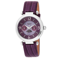 Burgi Women's Diamond Swiss Quartz Day Date Plum Strap Watch | Overstock.com