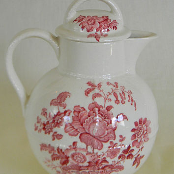 Red Transferware Pitcher Coffee Tea or Hot Water Pot Charlotte Basket of Roses