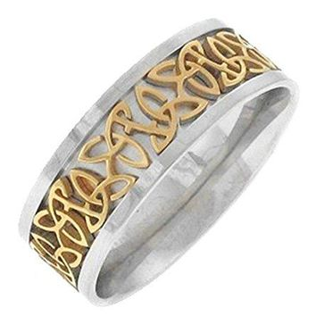 Triquetra Celtic Knot Ring Two Tone Stainless Steel Wedding Band