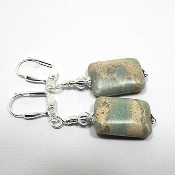 Aqua Terra Jasper Gemstone Earrings, Rectangle Drop, Silver Plated, Cream Blue Green Marbled, Boho Earrings, Spring Summer, Lever Back Hook