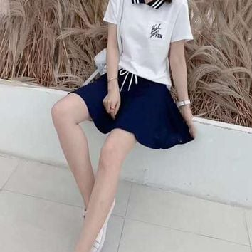 Women's Leisure  Fashion Letter Embroidery Printing Short Sleeve  ElasticBand Short Skirt Two-Piece Casual Wear