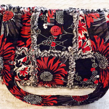 Rag Quilt Purse, Black and Red Bold Floral Fabrics, Handmade