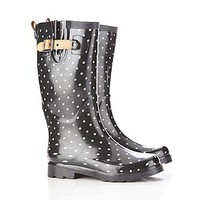 Chooka Women's Classic Dots Black Rain Boot