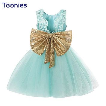 2018 Summer Flowers Girls Dress Big Bow Lace Princess Girl Dresses Newborn Kids Backless Dress Baby Clothes Formal Party Costume