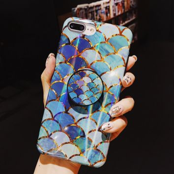 Blue Mermaid Fish Scale for iPhone 7 8 PLUS X XS