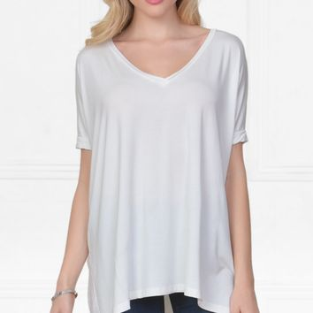 Piko 1988 Bamboo Off White Ivory Short Dolman Sleeve V Neck Piko Bamboo Loose Basic Tunic Tee Top