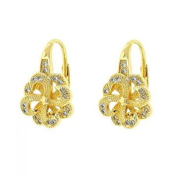 Gold Layered 02.195.0056 Leverback Earring, Flower Design, with White Micro Pave, Polished Finish, Golden Tone