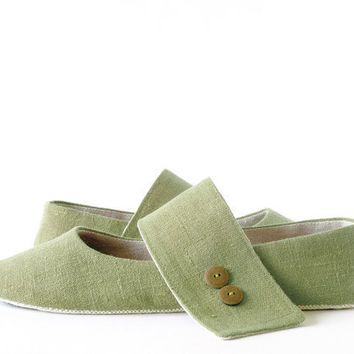 Zen Olivine green ballet flats slippers women house by LaLaShoes