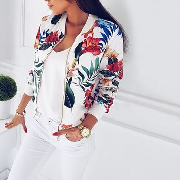 Fashion Ladies Women Long Sleeve Jacket Classic Zip Up Jacket Floral Tops Size
