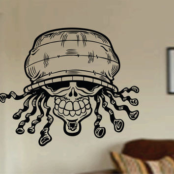 Rasta Skull Wall Vinyl Decal Sticker Art Graphic Sticker Sugar Skull Sugarskull Jamaican Marley Raggae Skull Marry Jane Marijuana l
