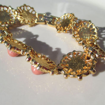 "Sarah Coventry "" Valencia "" Gold Toned Bracelet with Coral Accents"