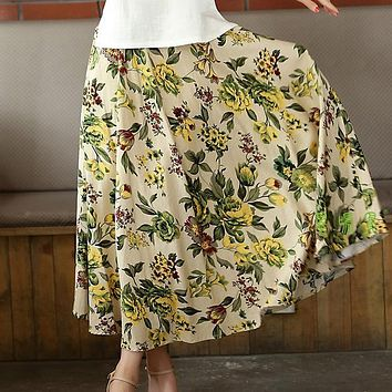 Women's linen skirt  loose long skirt Bohemian print flower skirt candy color