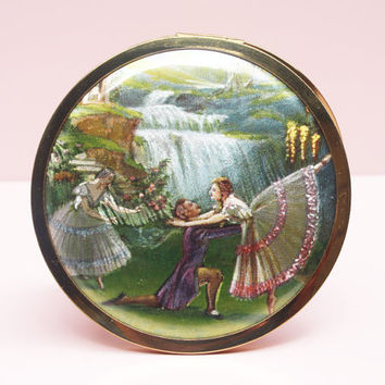 Powder Compact, Foil Art, Ballerina Compact, Gift for Dancer, Melissa Compact, Vintage Powder Compact, Compact Mirror, Shimmer - 1950's