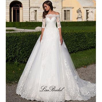 Vestido de noiva Amazing Long Wedding Dress 2017 Boat Neck Half Sleeves Chapel Train Applications Tulle A-Line Bridal Gowns
