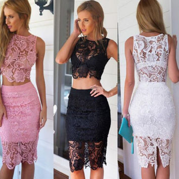 Sexy Lace Embroidery Flower Two-Piece