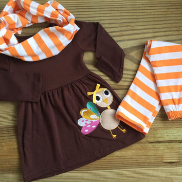 Thanksgiving Orange Striped Turkey Outfit