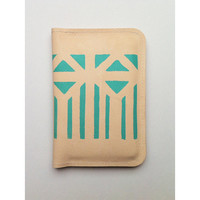 Passport Holder 02 // beige leather with mint pattern