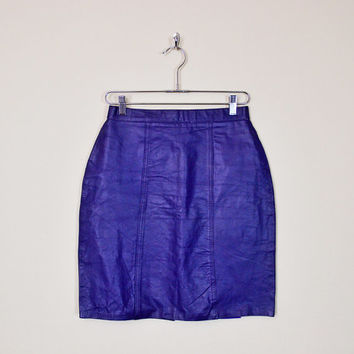 Vintage 80s Purple Leather Skirt Mini Skirt Pencil Skirt Wiggle Skirt Body Con Bodycon High Waist Skirt Motorcycle Skirt Biker Skirt S Small