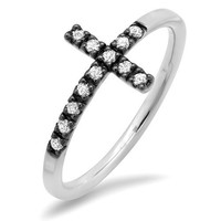 Diamond Sideways Cross Ring