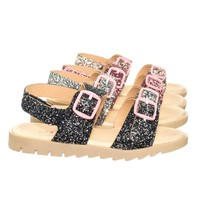 Holy33K Children Girls Open Toe Rubber Molded Footbed Sandal w Rock Glitter