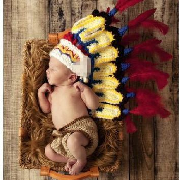 Newborn Baby Indians Knitted Crochet Costume Photo Photography Prop