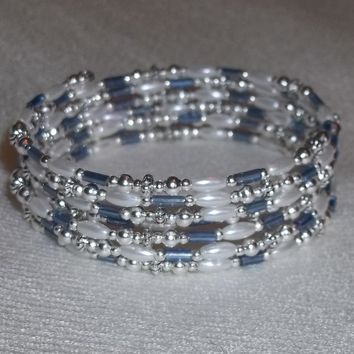 White Rice Pearl Bead & Steel Blue Bugle Beaded Silver Wedding Prom Formal Artisan Crafted Wrap Bracelet