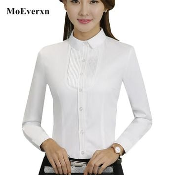 Ladies Long Sleeve White Blouse New Fashion High Quality Elegant Women Blouses Slim White Shirt Office Work Formal Tops