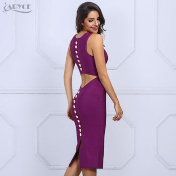 Fashion Autumn Women Bandage Dress Sexy V Neck Sleeveless Back Button Studded Hollow Out Party Dresses Club Wear
