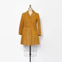 Vintage 60s SUEDE JACKET / 1960s Gold Belted Mod Leather Jacket L