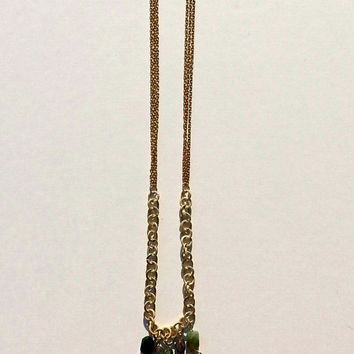 Long Gold Chain - Multi Strand Necklace - Stone and Leather tassels