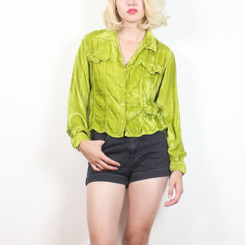 Vintage 90s Blouse Lime Green Crushed Velvet Shirt Long Sleeve Button Down Soft Grunge Nu Rave Club Kid Bright 1990s Top XS S Small M