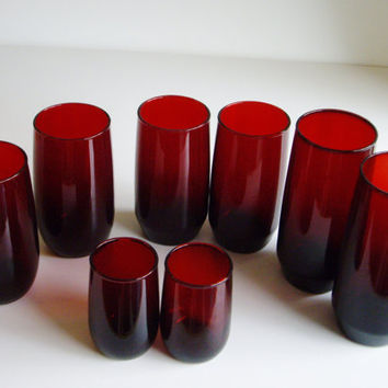 Vintage Royal Ruby Tumbler Collection - Flat and Round - Set of 8  Drinking Glasses - 2 of each size and type