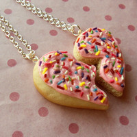 polymer clay sugar cookie with rainbow sprinkles heart best friend necklaces pink frosting friend ship bff