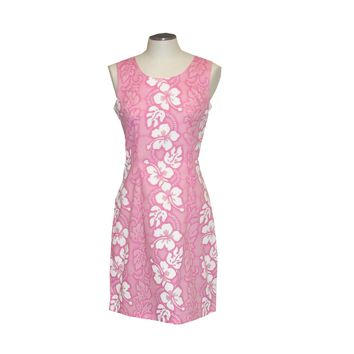 KY's Pink with White Hibiscus Short Tank Dress