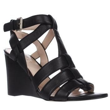 Nine West Farfalla Strapped Wedge Sandals, Black2, 6.5 US