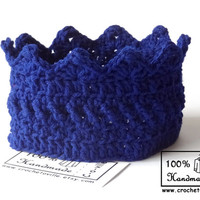 Princess or Prince Crown, Royal Blue Crochet Headband, Baby Crown for Dress Up, Pretend Play, Adventure Play,Birthday accessory, Photo prop